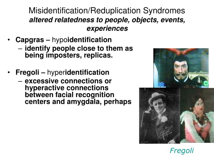 Misidentification/Reduplication Syndromes