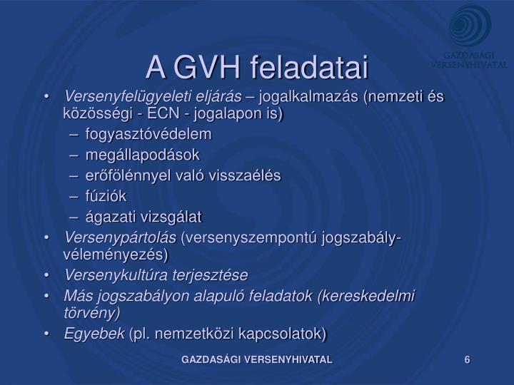 A GVH feladatai