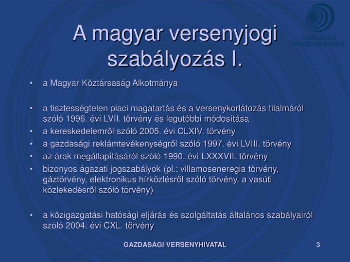 A magyar versenyjogi szab lyoz s i