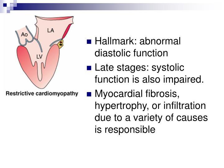 Hallmark: abnormal diastolic function