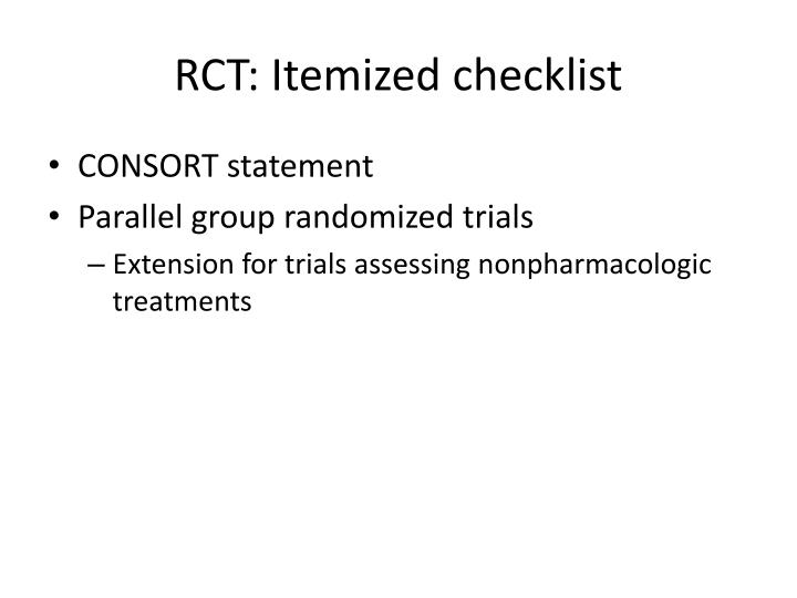 RCT: Itemized checklist