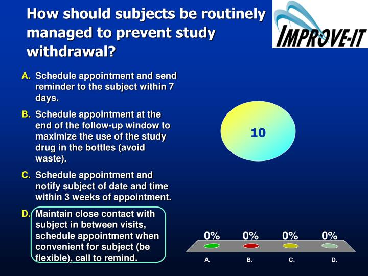 How should subjects be routinely managed to prevent study withdrawal