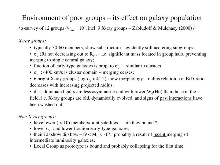 Environment of poor groups – its effect on galaxy population
