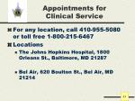 appointments for clinical service