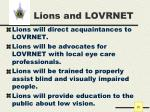 lions and lovrnet