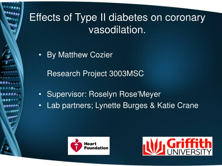 Effects of Type II diabetes on coronary vasodilation.