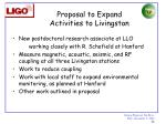 proposal to expand activities to livingston