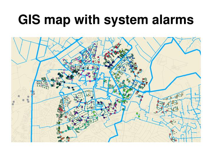 GIS map with system alarms