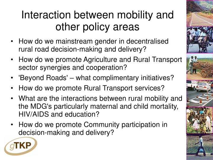 Interaction between mobility and other policy areas