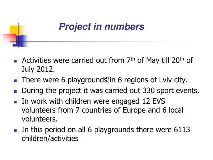 Project in numbers