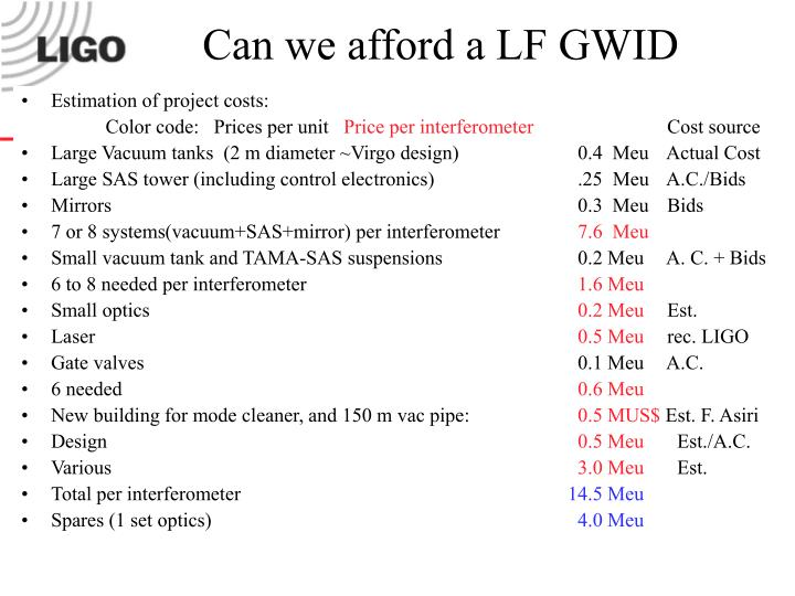 Can we afford a LF GWID