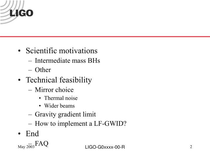 Scientific motivations