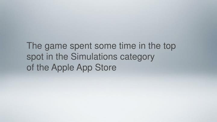 The game spent some time in the top spot in the Simulations category