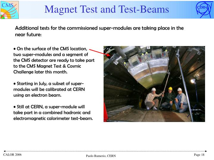 Magnet Test and Test-Beams