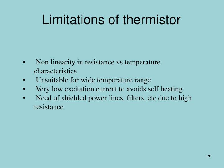 Limitations of thermistor