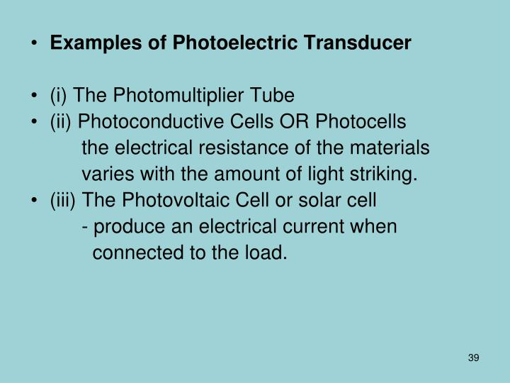 Examples of Photoelectric Transducer