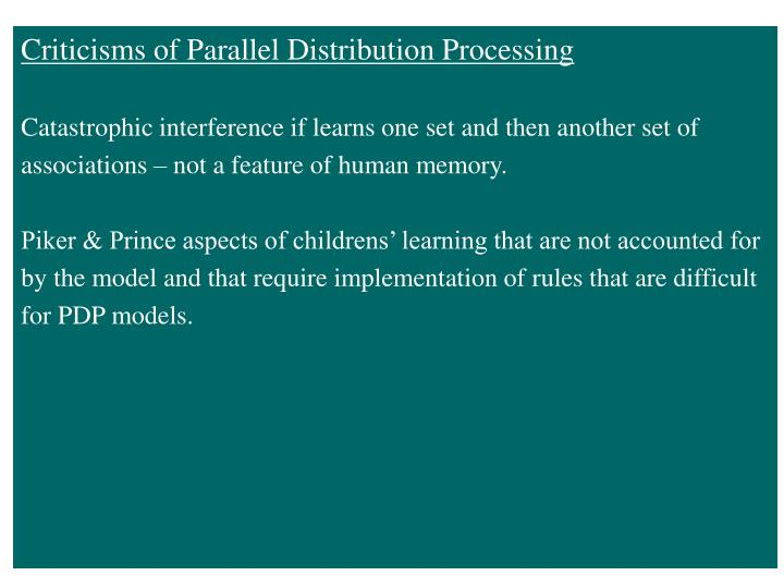 Criticisms of Parallel Distribution Processing