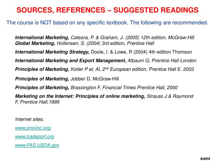 SOURCES, REFERENCES – SUGGESTED READINGS
