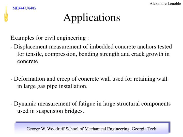 Examples for civil engineering :