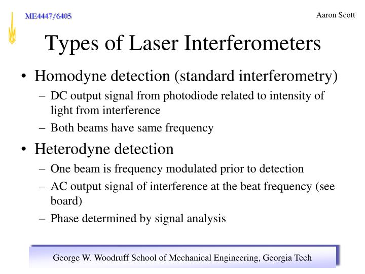 Homodyne detection (standard interferometry)