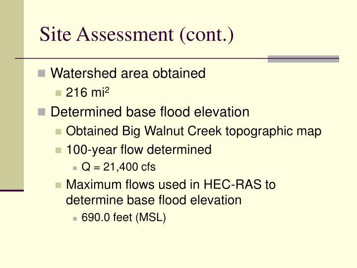 Site Assessment (cont.)