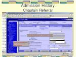 admission history chaplain referral