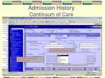 admission history continuum of care