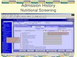 admission history nutritional screening