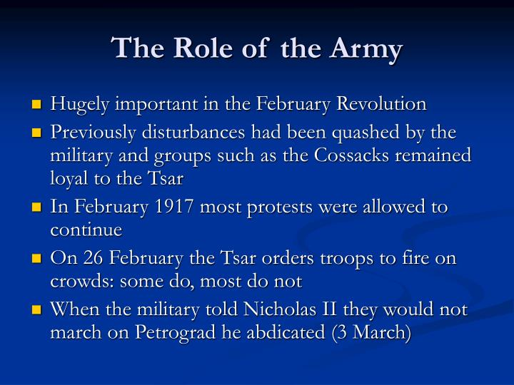 The Role of the Army
