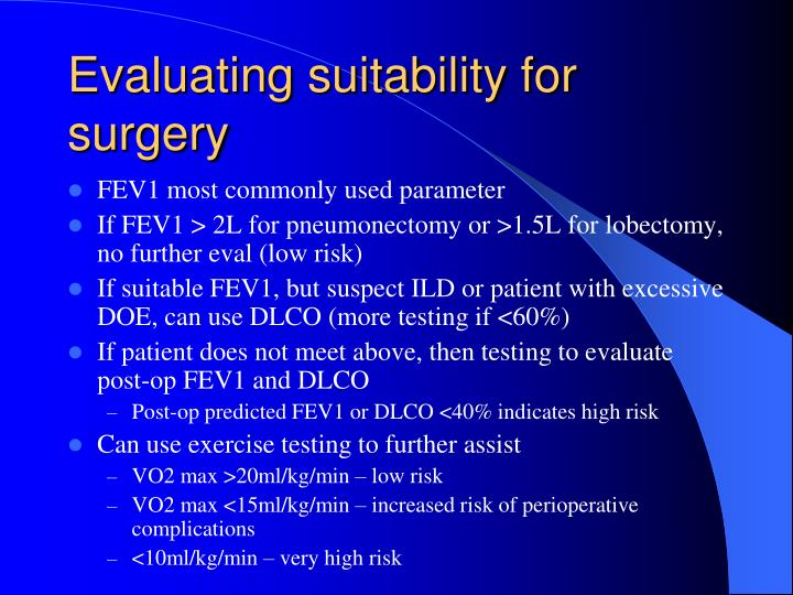 Evaluating suitability for surgery