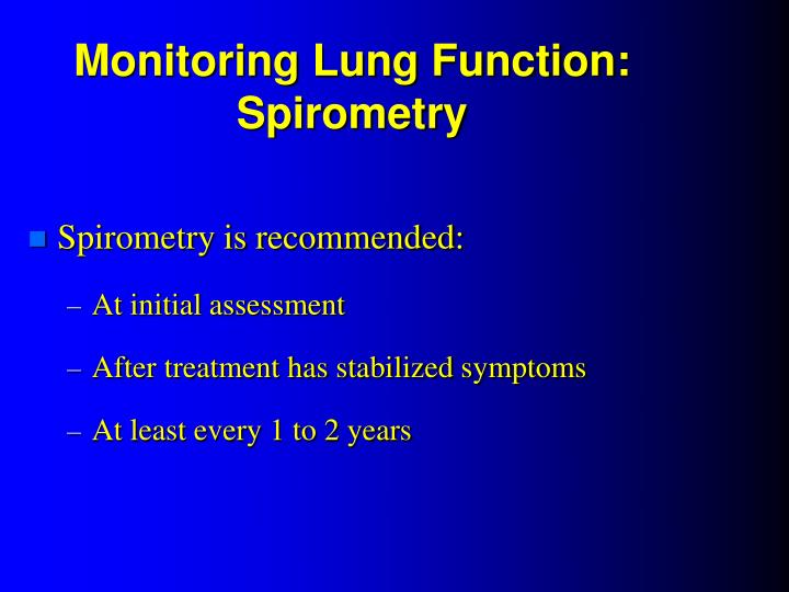Monitoring Lung Function: Spirometry