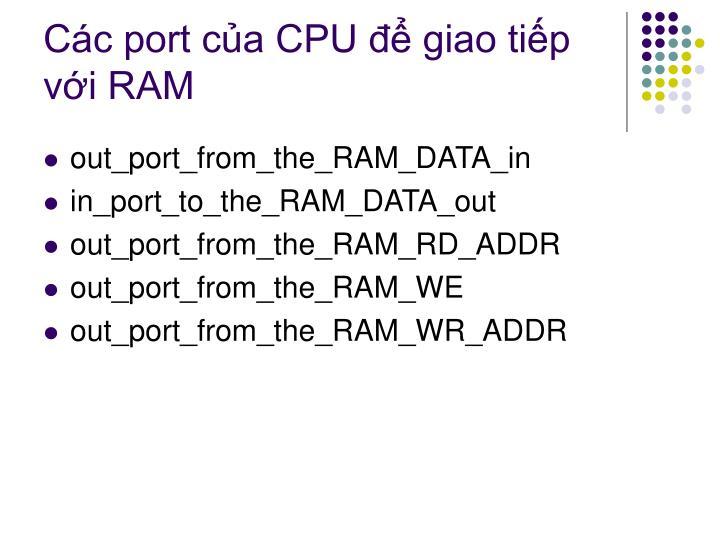 Các port của CPU để giao tiếp với RAM