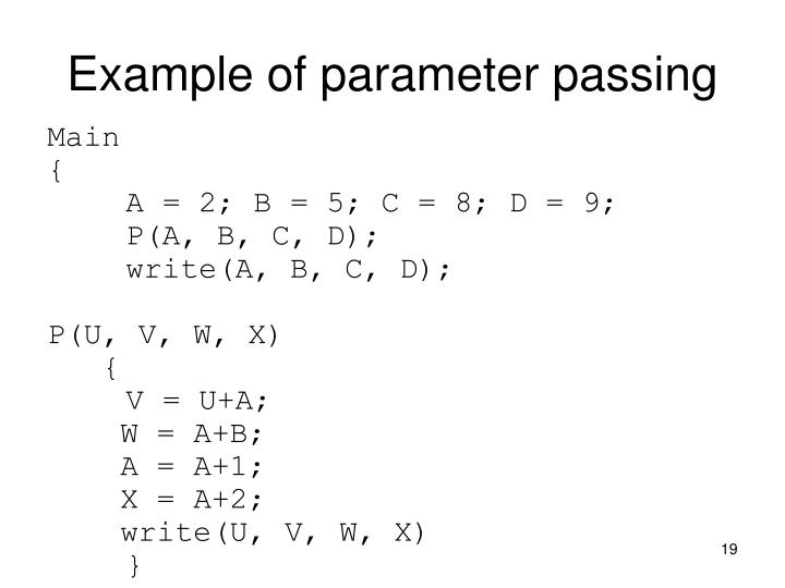 Example of parameter passing