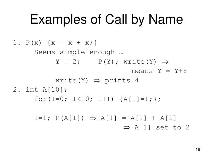 Examples of Call by Name