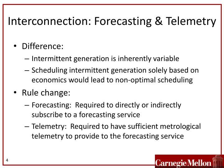 Interconnection: Forecasting & Telemetry