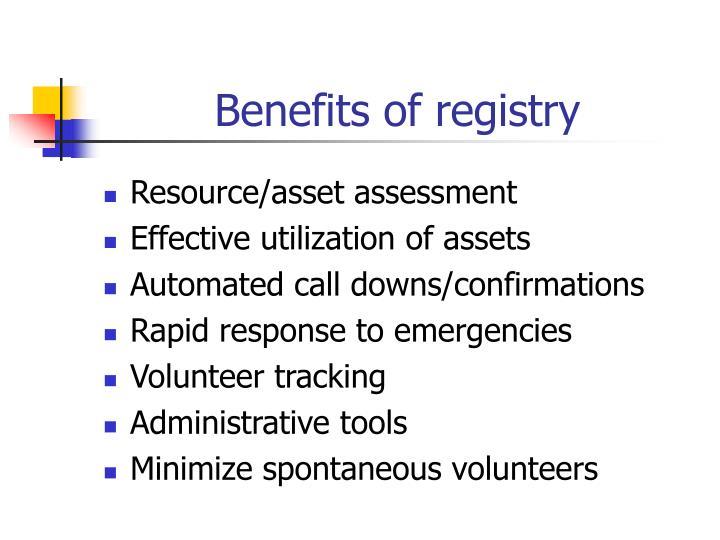 Benefits of registry