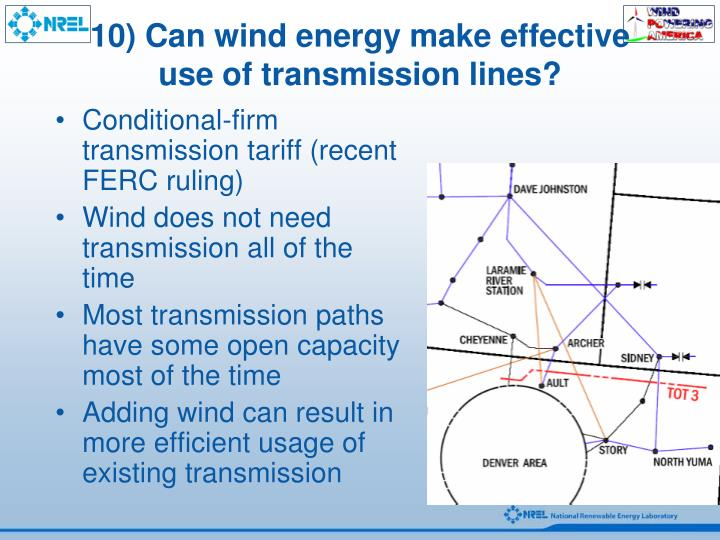 10) Can wind energy make effective use of transmission lines?