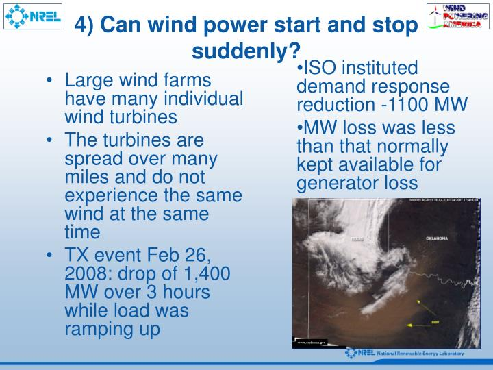 4) Can wind power start and stop suddenly?