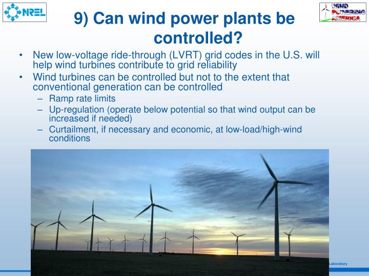 9) Can wind power plants be controlled?