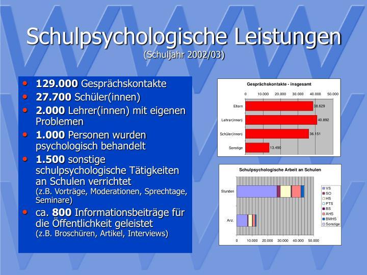 Schulpsychologische leistungen schuljahr 2002 03