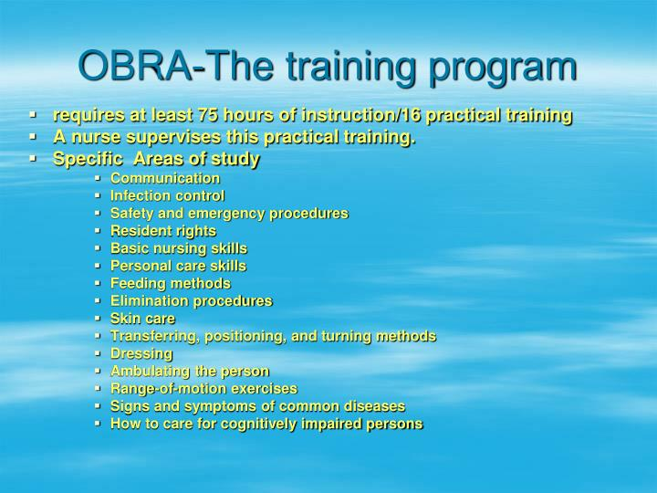 OBRA-The training program