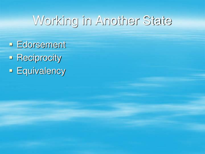 Working in Another State