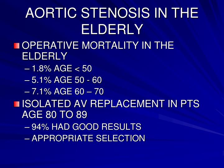 AORTIC STENOSIS IN THE ELDERLY
