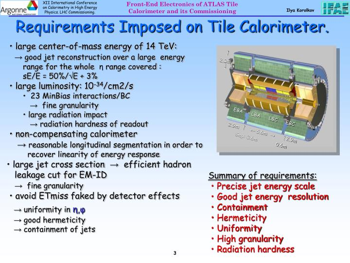 Requirements imposed on tile calorimeter