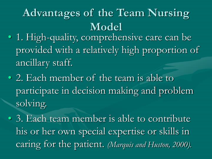 Advantages of the Team Nursing Model