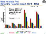 more realistic hw renaming register impact n int n fp figure 3 5