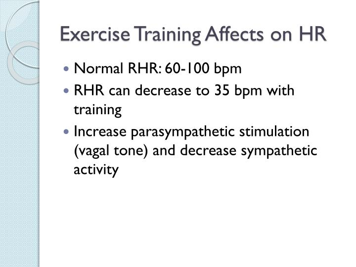 Exercise Training Affects on HR