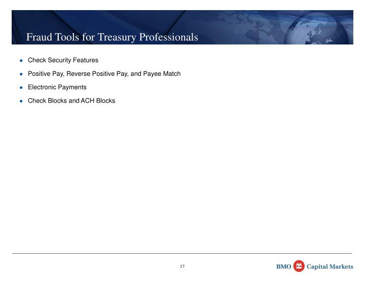 Fraud Tools for Treasury Professionals