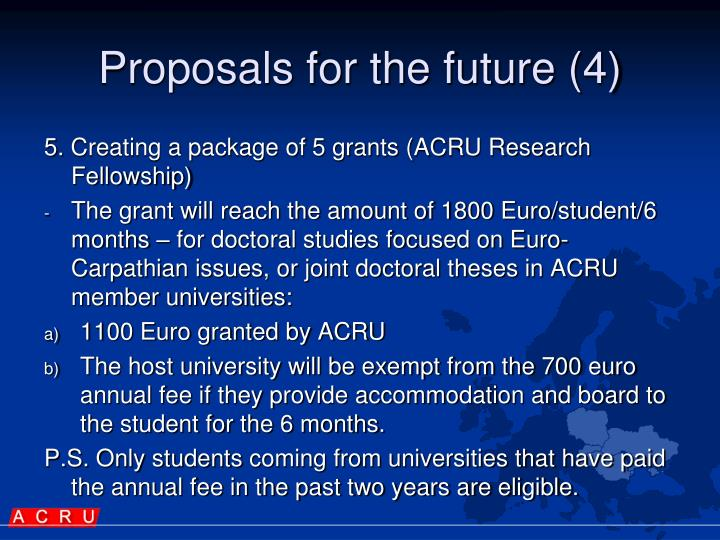 Proposals for the future (