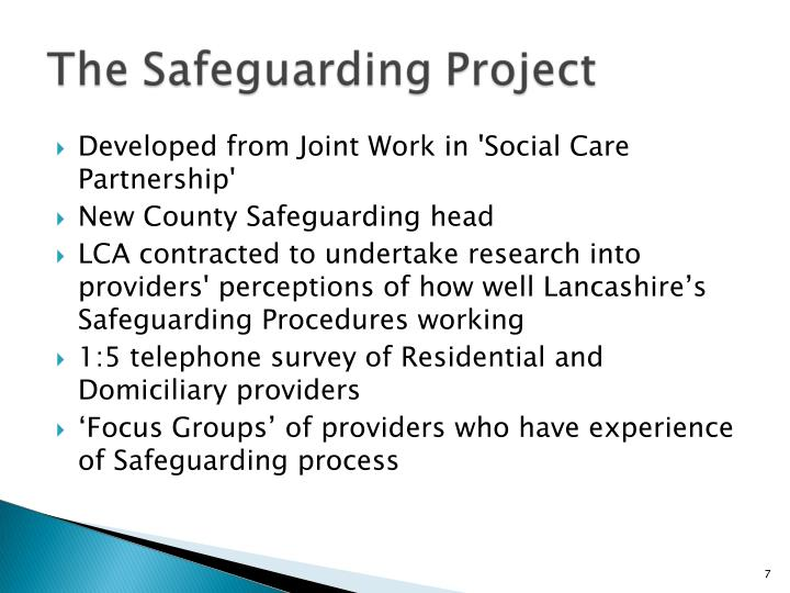 Developed from Joint Work in 'Social Care Partnership'